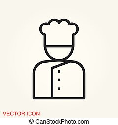 Chef vector icon in a cooking hat. Kitchen logo.
