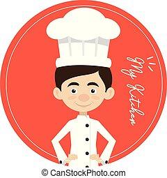 Chef Vector Illustration Design -  circular mascot