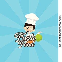 Chef Vector Illustration Design -  fresh food mascot logo