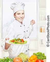 chef, vegetariano, comida, ofrecimiento