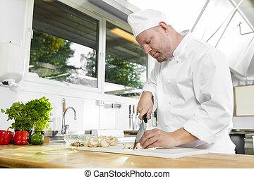 chef, verdura, grande, preparare, professionale, cucina