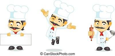 chef, vettore, arte, asse