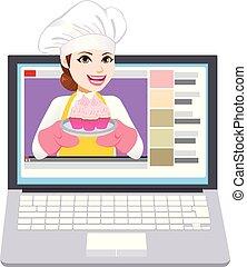 chef, video, laptop, donna, vlog