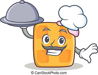Chef waffle character cartoon design with food
