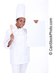 Chef with a blank board