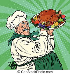 Chef with a dish roast Turkey, pop art retro vector...