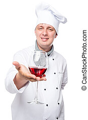 chef with a glass of red wine on a white background