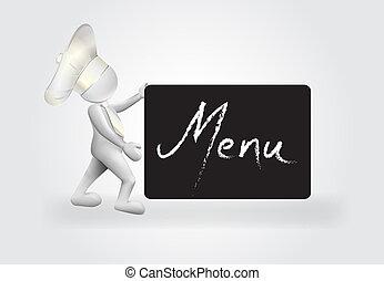 Chef with a menu sign logo