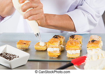Chef with a pastry bag