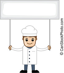 Chef with Banner - Cartoon Business