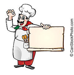 Chef with banner