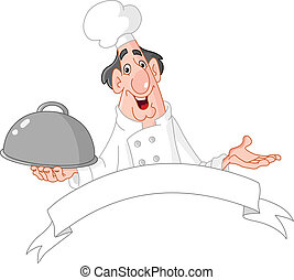 Chef with blank banner
