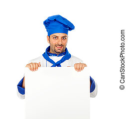 Chef with blank billboard on white background