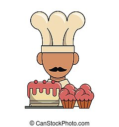 chef with cupcakes cartoon
