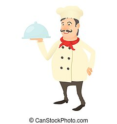 Chef with dish icon, cartoon style