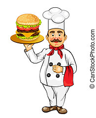 Chef with fast food