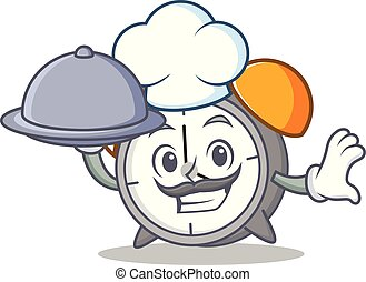 Chef with food alarm clock mascot cartoon