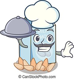 Chef with food almond milk in the cartoon bottle