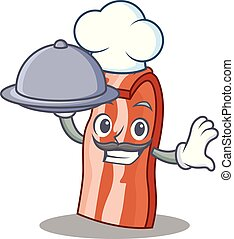 Chef with food bacon mascot cartoon style vector...