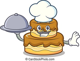Chef with food birthday cake mascot cartoon