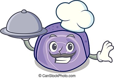 Chef with food blueberry roll cake mascot cartoon