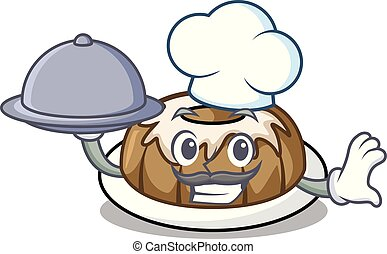 Chef with food bundt cake mascot cartoon