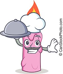Chef with food candle character cartoon style vector...