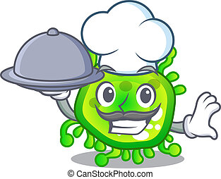 Chef with food cartoon microbes on the humans hand