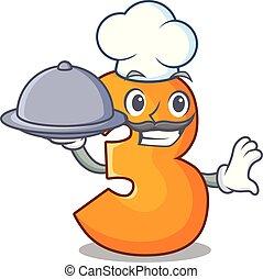Chef with food cartoon number three on wooden door