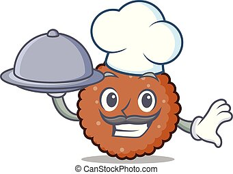 Chef with food chocolate biscuit mascot cartoon