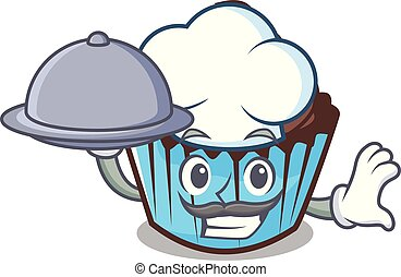 Chef with food chocolate cupcake mascot cartoon