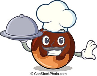 Chef with food chocolate donut mascot cartoon