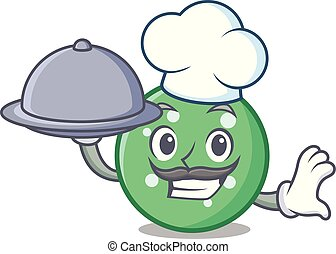 Chef with food circle mascot cartoon style