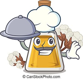 Chef with food cottonseed oil in the cartoon shape vector ...