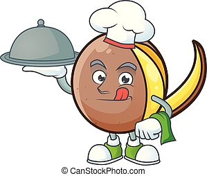 Chef with food cute bambangan fruit in cartoon mascot
