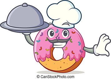 Chef with food Donut mascot cartoon style