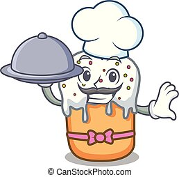 Chef with food easter cake mascot cartoon
