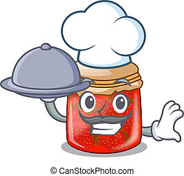 Chef with food fresh tasty strawberry jam on mascot vector...