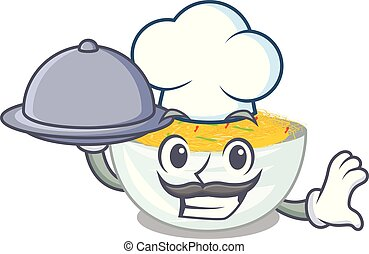 Chef with food Fried noodles served on cartoon pan