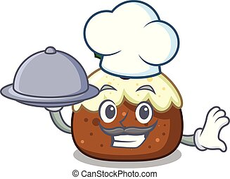 Chef with food fruit cake mascot cartoon