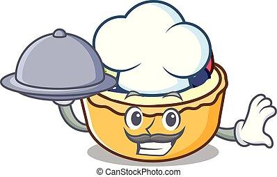 Chef with food fruit tart mascot cartoon