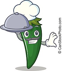 Chef with food green chili character cartoon