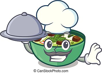 Chef with food green curry in the character shape