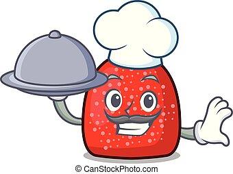 Chef with food gumdrop mascot cartoon style vector ...