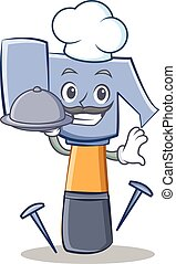 Chef with food hammer character cartoon emoticon