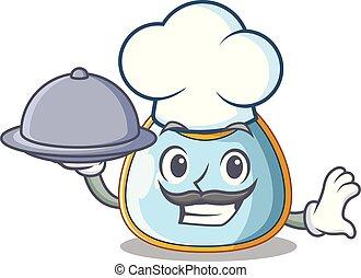 Chef with food homemade baby bib of cloth cartoon