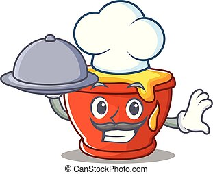 Chef with food honey character cartoon style