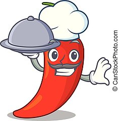 Chef with food hot chili pepper on cartoon table