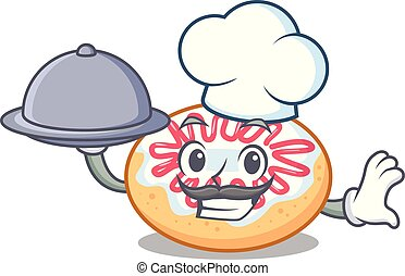 Chef with food jelly donut mascot cartoon