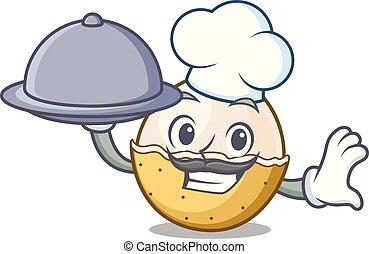 Chef with food longan fruit mascot cartoon